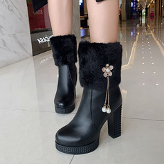 Women's Leatherette Stiletto Heel Mid-Calf Boots With Zipper Tassel shoes
