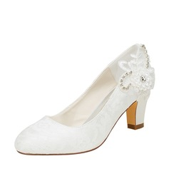 Women's Silk Like Satin Chunky Heel Pumps With Stitching Lace Flower Crystal