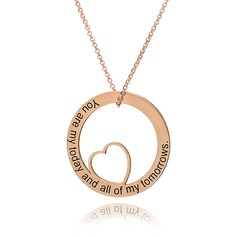 Custom 18k Rose Gold Plated Silver Engraving/Engraved Circle Heart Necklace Circle Necklace - Birthday Gifts Mother's Day Gifts