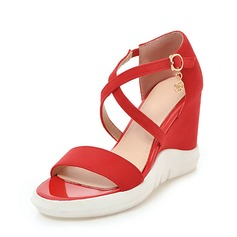 Women's Suede Wedge Heel Sandals Wedges Peep Toe Slingbacks With Buckle shoes