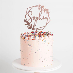 Personalized Flower/Wreath Wood Cake Topper