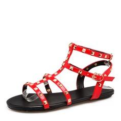 Kvinner Patentert Lær Flat Hæl Sandaler Flate sko med Rivet sko