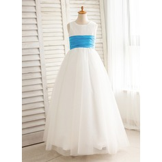 Ball Gown Floor-length Flower Girl Dress - Tulle Sleeveless Square Neckline With Sash/Pleated
