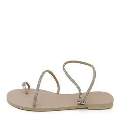 De mujer Cuero Tacón plano Sandalias Planos con Rhinestone zapatos