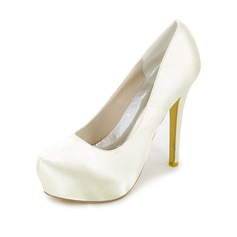 Women's Silk Like Satin Stiletto Heel Platform Pumps With Others