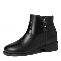 Women's Leatherette Low Heel Boots Ankle Boots With Zipper shoes
