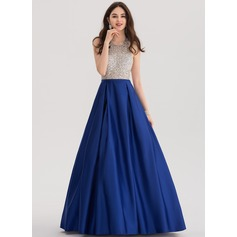 Ball-Gown Halter Floor-Length Satin Prom Dresses With Beading Sequins