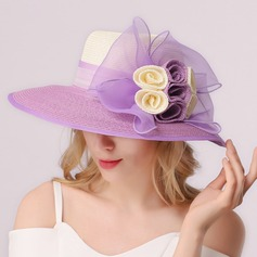 Ladies' Beautiful Raffia Straw With Silk Flower Floppy Hat