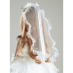 Satin/Lace With Lace/Imitation Pearls Veil