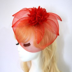 Ladies' Simple/Pretty Net Yarn/Silk Flower With Silk Flower Fascinators