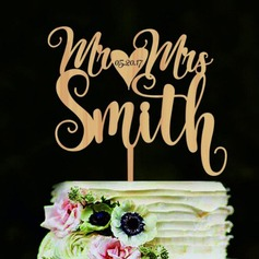 Personalized Classic Couple Wood Cake Topper