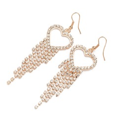 Sweet Heart Alloy/Rhinestones Ladies' Earrings