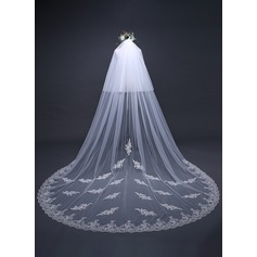 Two-tier Lace Applique Edge Cathedral Bridal Veils With Applique (006125303)