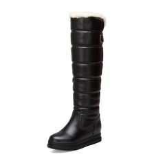 Women's Leatherette Flat Heel Platform Boots Snow Boots shoes