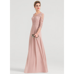 Sheath/Column V-neck Floor-Length Chiffon Evening Dress (271214340)