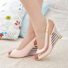 Women's Leatherette Wedge Heel Sandals Wedges Peep Toe Slingbacks With Buckle Hollow-out shoes (085111982)