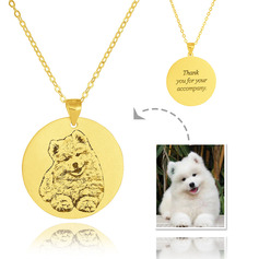 Custom 18k Gold Plated Silver Engraving/Engraved Circle Tag Black And White Photo Engraved Engraved Necklace Circle Necklace Photo Necklace - Birthday Gifts