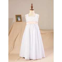 A-Line/Princess Floor-length Flower Girl Dress - Chiffon/Lace Sleeveless Square Neckline With Sash