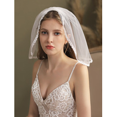 One-tier Pearl Trim Edge Birdcage Veils With Faux Pearl