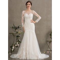 Trumpet/Mermaid Illusion Court Train Tulle Wedding Dress
