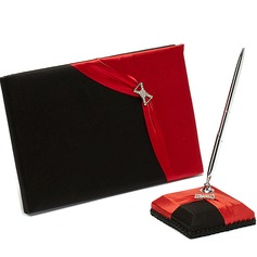 Red and Black Rhinestones Guestbook & Pen Set