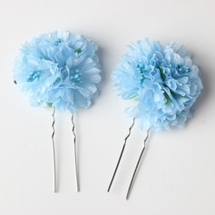 Lovely Alloy/Silk Flower Hairpins (Set of 2)