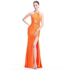 Trumpet/Mermaid Scoop Neck Sweep Train Jersey Evening Dress With Ruffle Beading Sequins Split Front