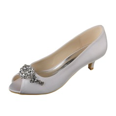 Women's Satin Low Heel Peep Toe Sandals With Rhinestone