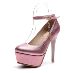 Women's PVC Stiletto Heel Pumps Platform With Buckle shoes