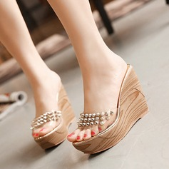 Women's Wedge Heel Sandals Platform Wedges Peep Toe Slippers With Rhinestone shoes
