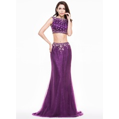 Trumpet/Mermaid Scoop Neck Sweep Train Tulle Evening Dress With Beading Sequins