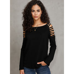 Long Sleeves Polyester Round Neck Knit Blouses (1003223823)