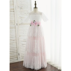 A-Line Floor-length Flower Girl Dress - Tulle/Lace Short Sleeves Scoop Neck With Flower(s)