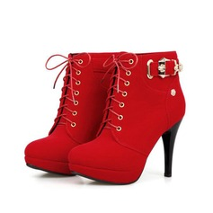 Women's Suede Stiletto Heel Platform Ankle Boots With Buckle Braided Strap shoes