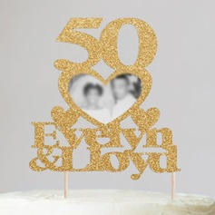 Personalized Photo Frame/Anniversary Acrylic/Wood Cake Topper