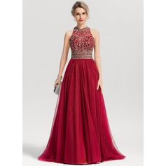 A-Line/Princess Scoop Neck Sweep Train Tulle Prom Dresses With Beading Sequins (018163278)
