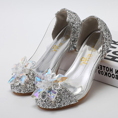 Girl's Closed Toe Leatherette Sparkling Glitter Low Heel Pumps Flower Girl Shoes With Rhinestone (207095566)