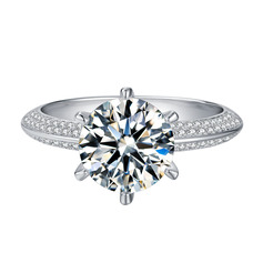 Halo Side Stones Round Cut 925 Silver Engagement Rings (303261158)