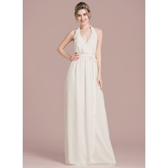 A-Line/Princess Halter Floor-Length Chiffon Wedding Dress With Bow(s) Cascading Ruffles