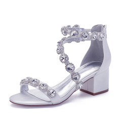 Women's Satin Chunky Heel Sandals With Rhinestone