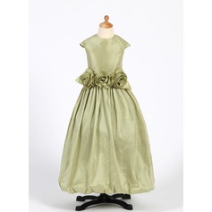 A-Line/Princess Floor-length Flower Girl Dress - Taffeta Sleeveless Scoop Neck With Ruffles/Flower(s)