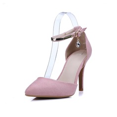 Women's Suede Stiletto Heel Pumps Closed Toe With Crystal Buckle shoes
