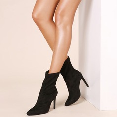 Women's Suede Stiletto Heel Pumps Boots Mid-Calf Boots shoes