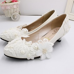 Women's Leatherette Low Heel Closed Toe With Applique