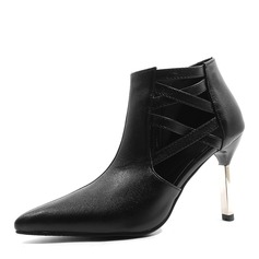 Women's Leatherette Stiletto Heel Sandals Pumps Closed Toe Ankle Boots With Hollow-out Jewelry Heel shoes