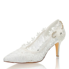Women's Lace Silk Like Satin Stiletto Heel Closed Toe Pumps With Stitching Lace Crystal