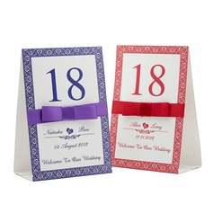 Personalized Floral Design Paper Table Number Cards With Ribbons