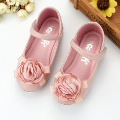Girl's Round Toe Microfiber Leather Flat Heel Flower Girl Shoes With Velcro Flower