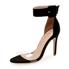 Women's Suede Stiletto Heel Sandals Pumps With Buckle shoes