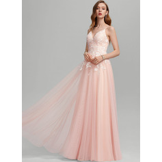 A-Line Sweetheart Floor-Length Tulle Prom Dresses With Sequins